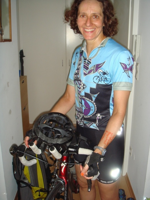 Here's me just back from one of my training rides in the Taunus (local mountains). Note that I've written my route on my arm so I don't get lost.  My first ride in this area ended in tears and a dead phone in the rain.  We took the necessary precautions to prevent that which apparently involve a sharpie and my skin.  Works, though!
